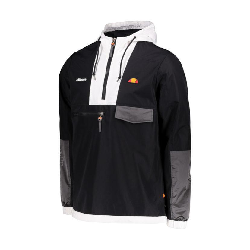 ELL610B ellesse 12 Zip Lightweight Jacket Black White ELW19-513A
