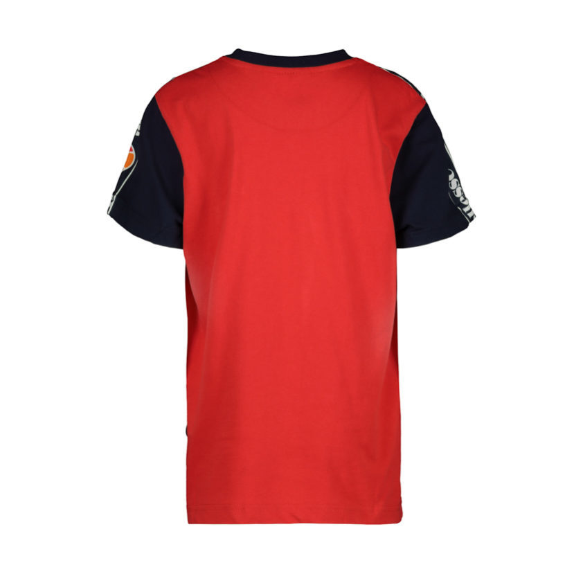 ELL622YR ellesse Tape Panel Detail T-shirt Boys Red Blue ELW19-505AB