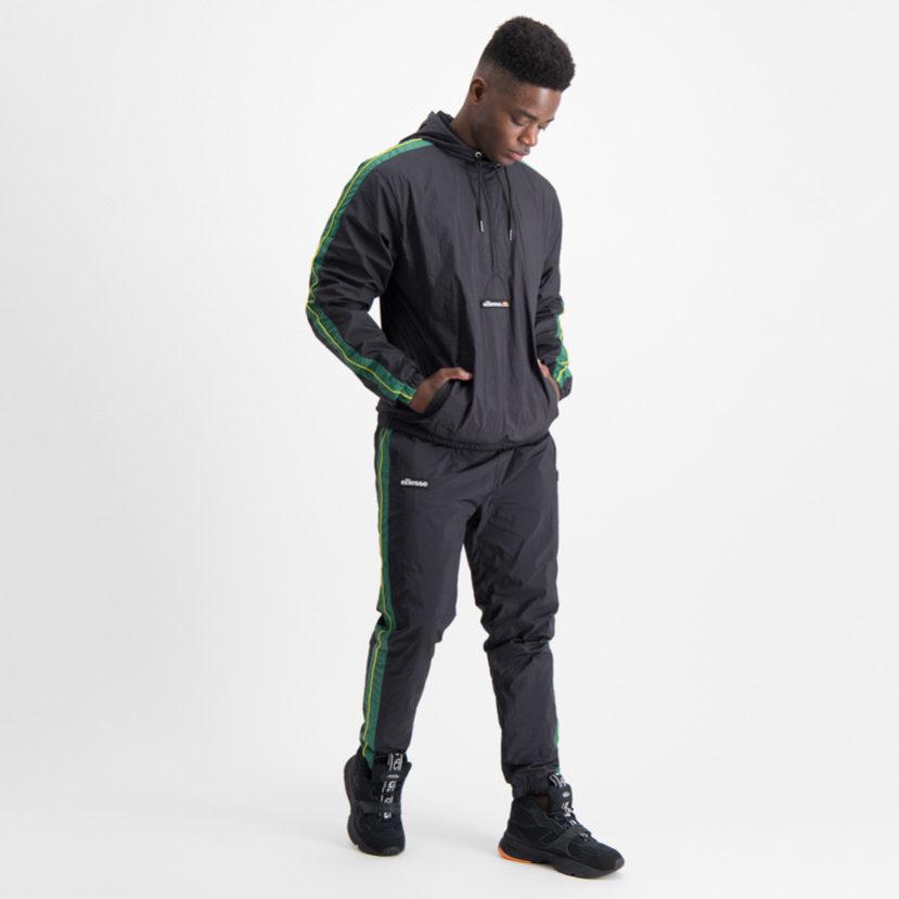 ELL695B ellesse 12 Zip Hooded Woven Jacket lightweight Black Green SHA06410