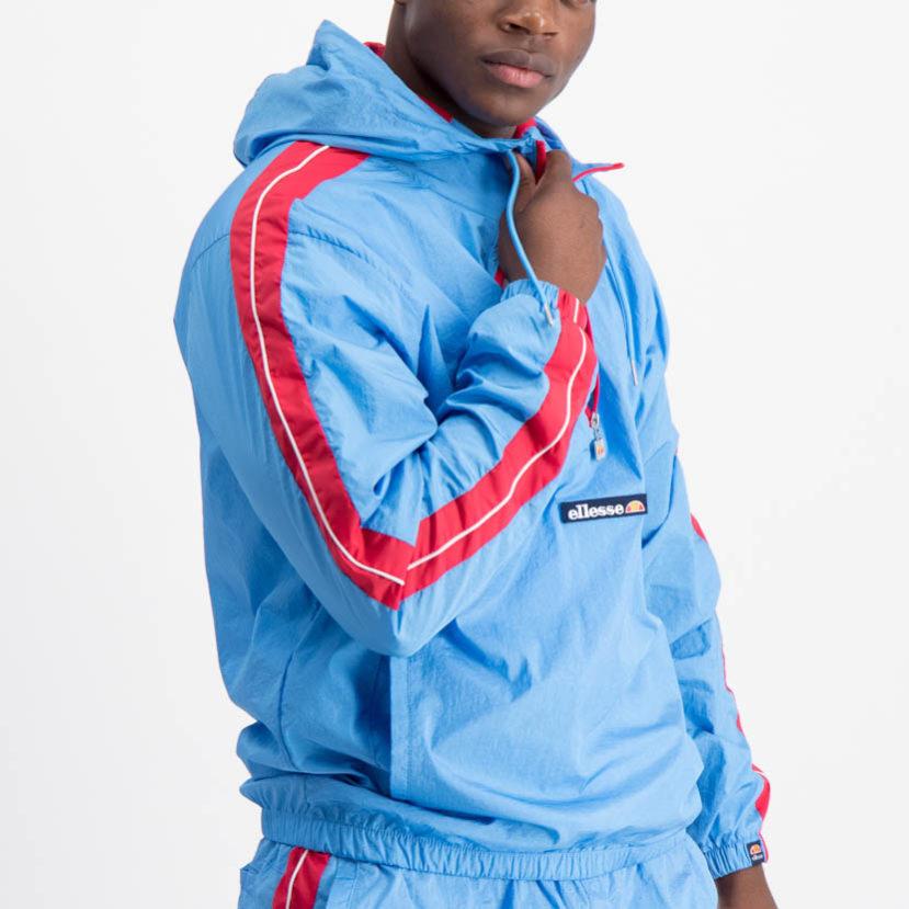 ELL695LB ellesse 12 Zip Hooded Woven Jacket Lightweight Blue SHA6410