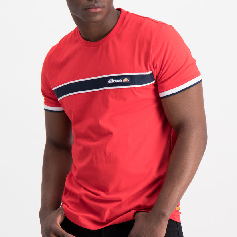 ellesse Chest Striped Tee Red Blue