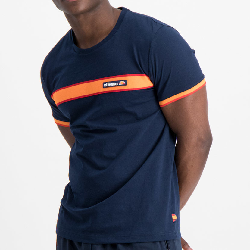 ellesse Chest Stripe Tee Dress Blue Orange