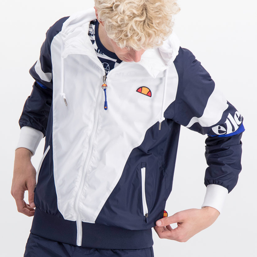 ELL763W ellesse Full Zip Windrunner Jacket White Blue ELS19-704A