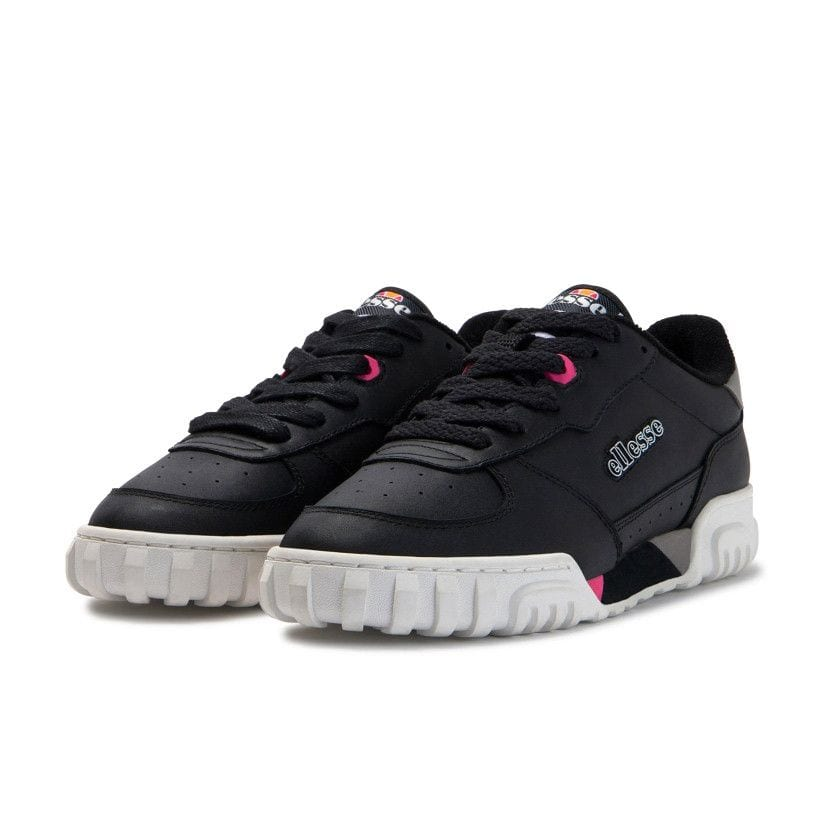 ellesse tanker lo leather womens black fluro pink ell929lb 239