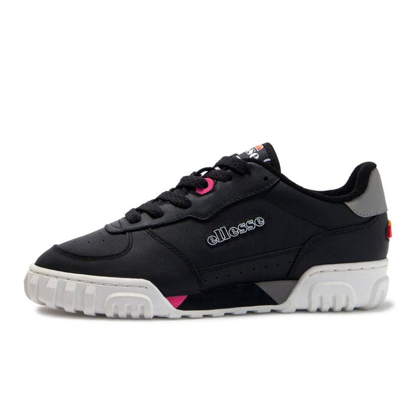 ellesse tanker lo leather womens black fluro pink ell929lb 5dc