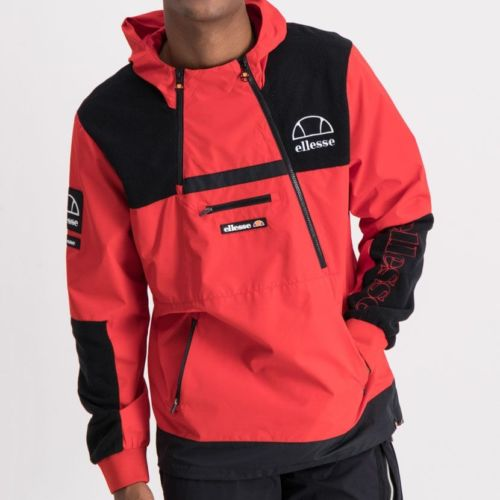 ELL852R ELLESSE MIXED FABRIC MULTI ZIP HOODED JACKET RED BLACK ELW20 052A 8