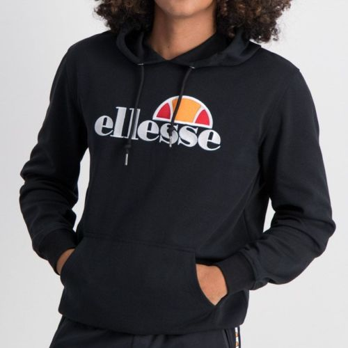 ELL862B ELLESSE PULLOVER HOODIE LARGE CHEST EMBROIDERED LOGO BLACK ELW20 002A 5