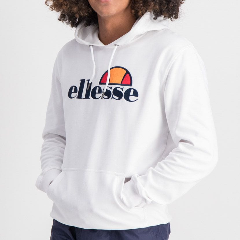ELL862W ELLESSE PULLOVER HOODIE LARGE CHEST EMBROIDERED LOGO WHITE ELW20 002A 4