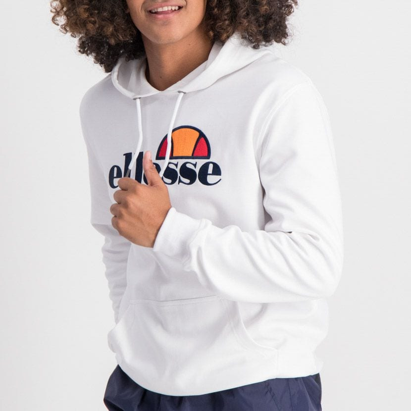 ELL862W ELLESSE PULLOVER HOODIE LARGE CHEST EMBROIDERED LOGO WHITE ELW20 002A 6