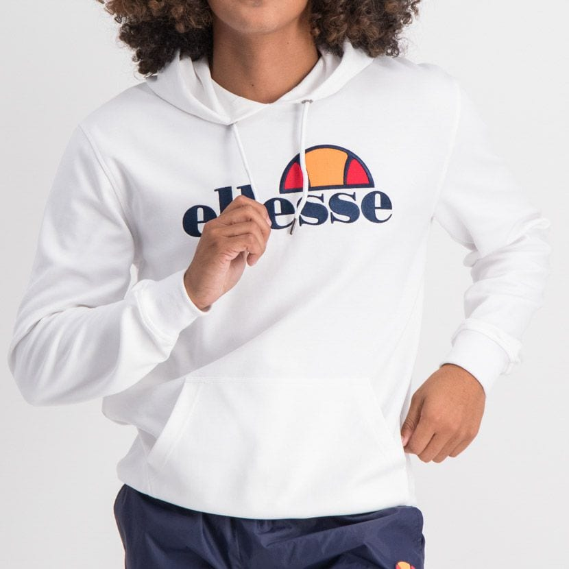 ELL862W ELLESSE PULLOVER HOODIE LARGE CHEST EMBROIDERED LOGO WHITE ELW20 002A 7