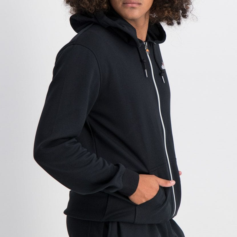 ELL864B ELLESSE ZIP UP HOODIE SMALL CHEST EMBROIDERED LOGO BLACK ELW20 003A 7