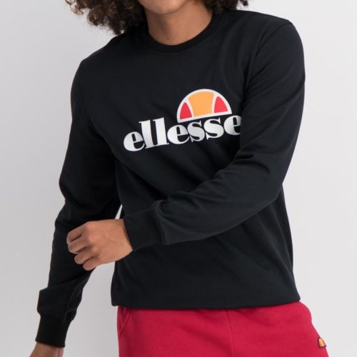 ELL866B ELLESSE SWEAT TOP LARGE CHEST EMBROIDERED LOGO BLACK ELW0 004A2 6