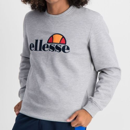ELL866G ELLESSE SWEAT TOP LARGE CHEST EMBROIDERED LOGO GREY ELW20 004A 8 5