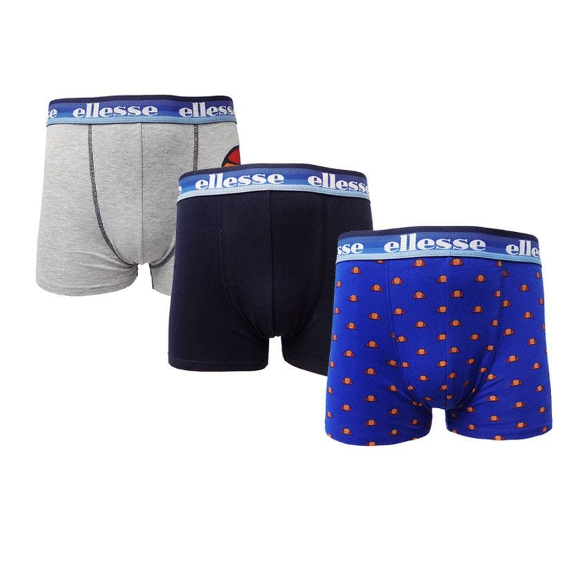 ellesse 3 pack printed bodyshorts mens multicolour blues ell837gb ec8