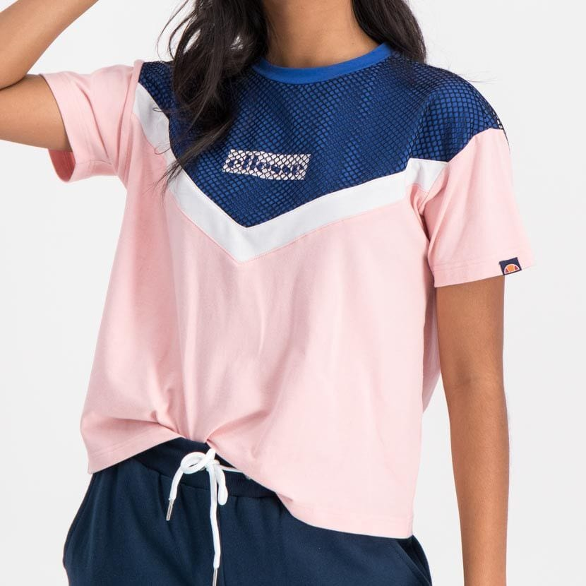 ellesse graphic mesh overlay t shirt womens galaxy blue crystal rose ell894bl afe