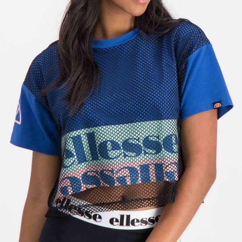 ellesse graphic t shirt with mesh overlay womens galaxy blue ell895bl 62f