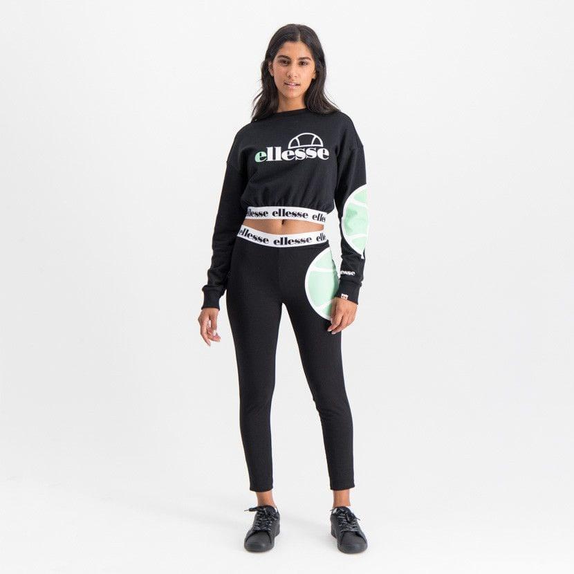 ellesse jumper with dropped shoulder elasticated waist womens black ell896b 808
