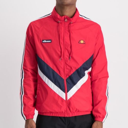 ellesse light weight chevron tape jacket mens red ell856r 305