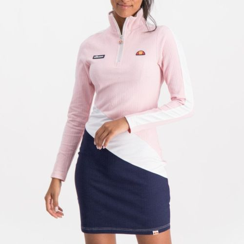ellesse short lenght bodycon dress womens rose pink white blue ell901ro 1