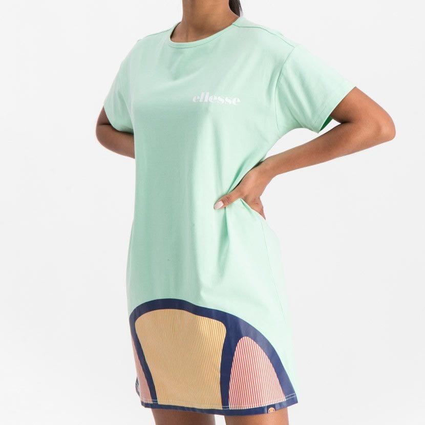 ellesse t shirt dress with oversized logo womens green ell900gr 0c9