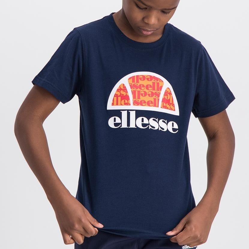 ELL1060YDB ELLESSE BOYS LARGE INSET WORD LOGO T ELS20 0106AB Top CR2 9 7