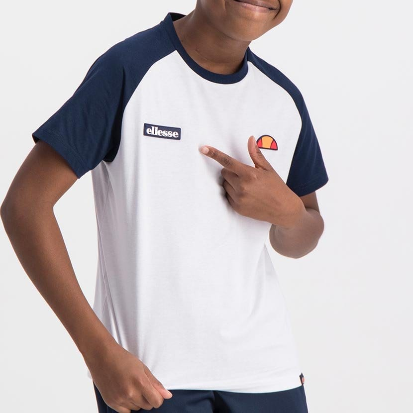 ELL793YW ELLESSE BOYS CONTRAST RAGLAN T WITH SHOULDER PRINT  ELS19 614AB Top CR2 10 7