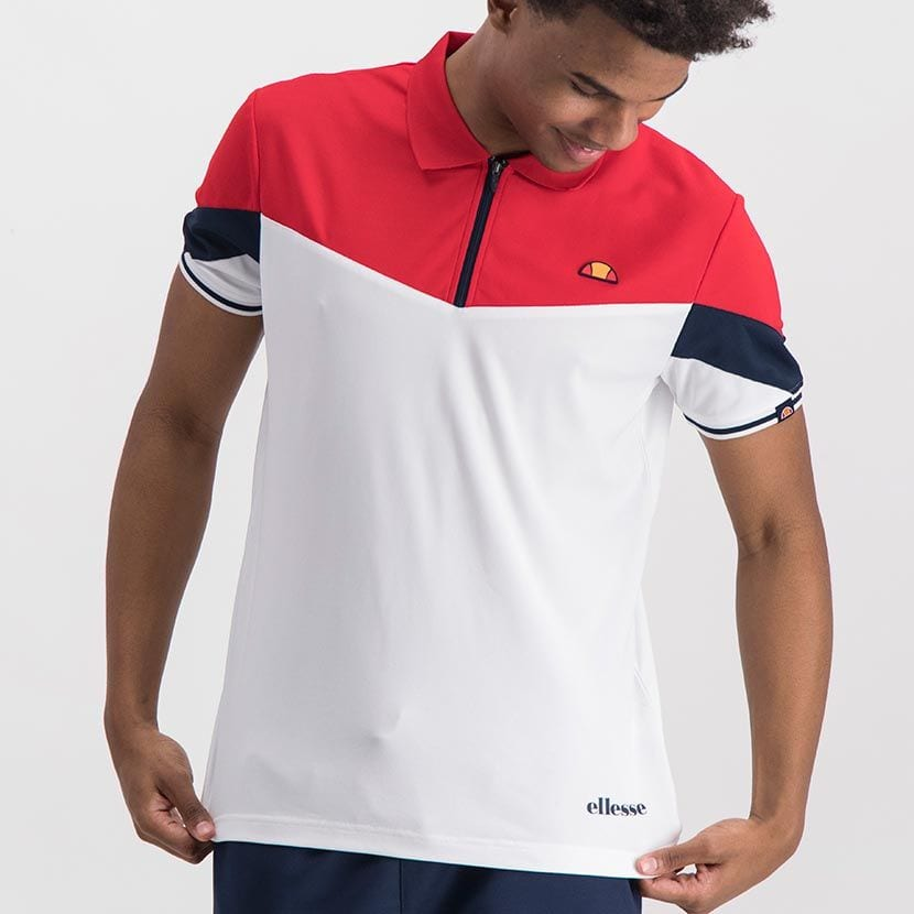 ELL846R ELLESSE CONTRAST PANEL POLY ZIP COLLAR PRINTED LOGO GOLFER ELW20 303A Full CR2 4 7