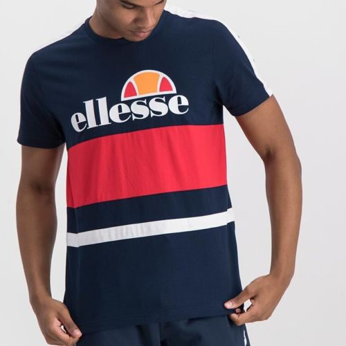 ELL992DB ELLESSE MENS LOGO CUT SEW TAPE PRINT T SHIRT ELS20 0100A Full CR2 1 5