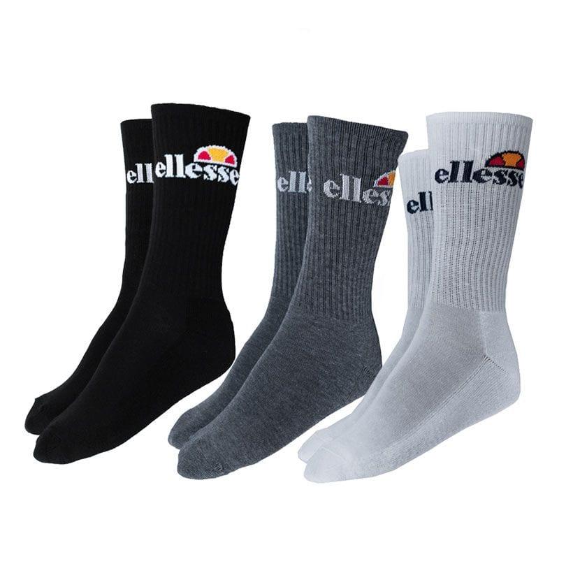 ELL834WB ellesse 3 Pack Crew Socks White Black Grey Black V4