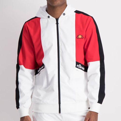 ELL1205W Contrast Fabric Color Windbreaker White Red Black ELW21 132A V1