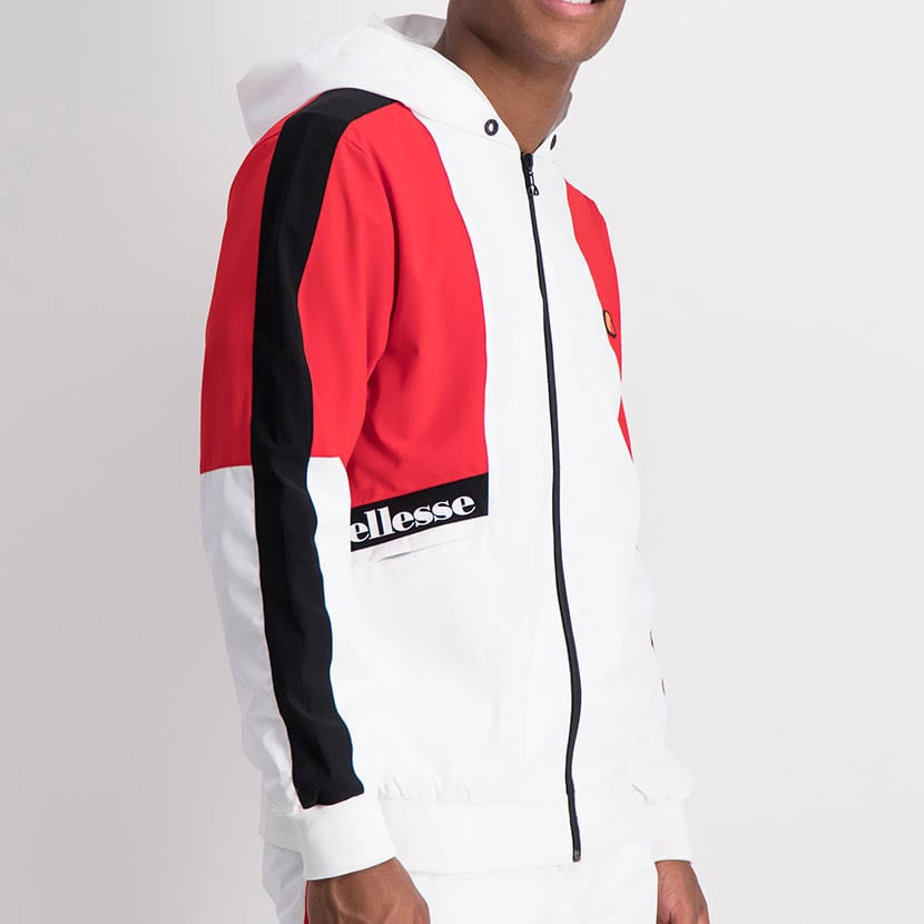 ELL1205W Contrast Fabric Color Windbreaker White Red Black ELW21 132A V2