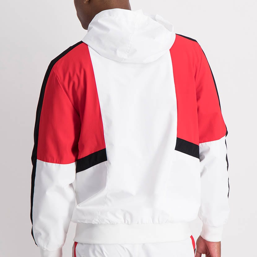 ELL1205W Contrast Fabric Color Windbreaker White Red Black ELW21 132A V3