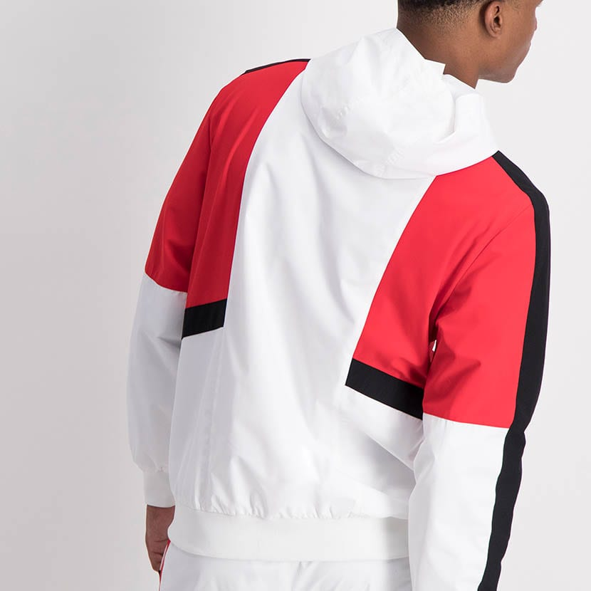 ELL1205W Contrast Fabric Color Windbreaker White Red Black ELW21 132A V4
