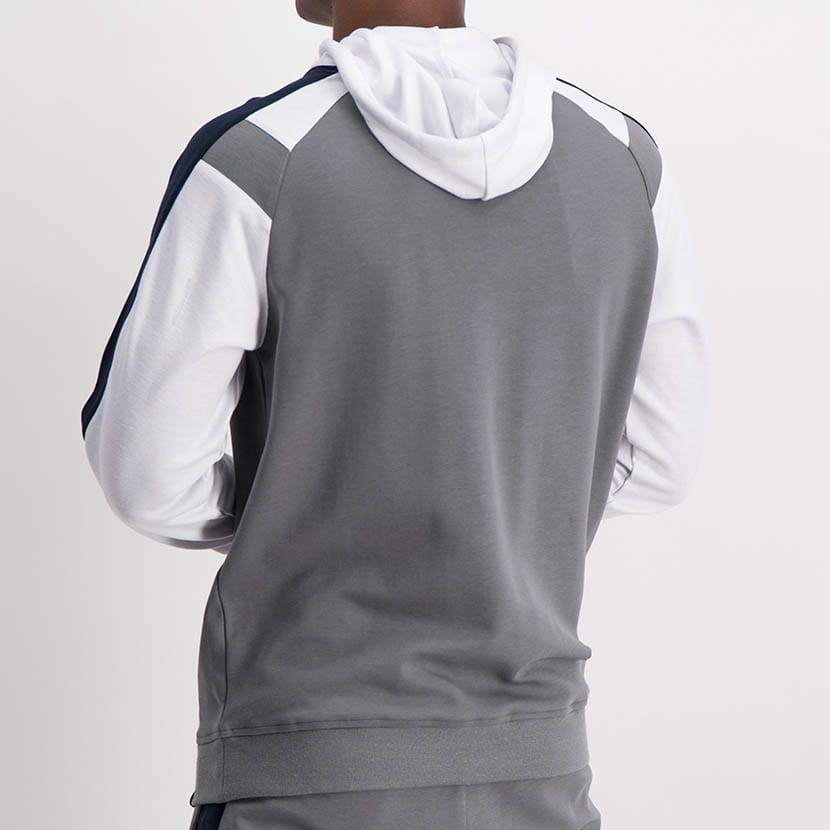 ELL1225CH Split Col Hoody Sweat Top Charcoal Blue White ELW21 034A V2