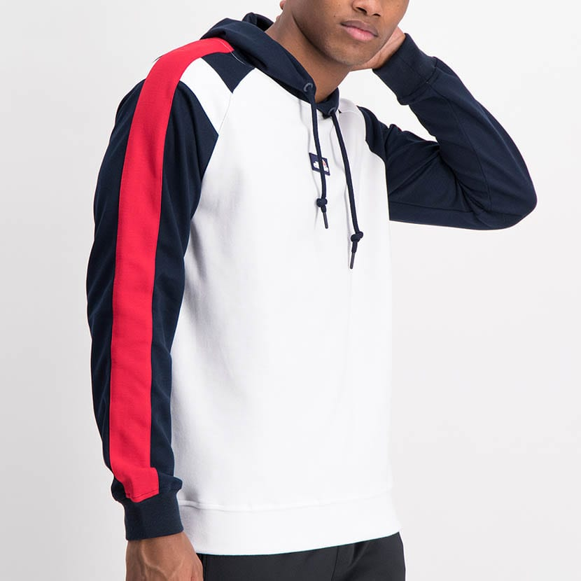 ELL1225W Split Col Hoody Sweat Top White Red Blue ELW21 034A V1