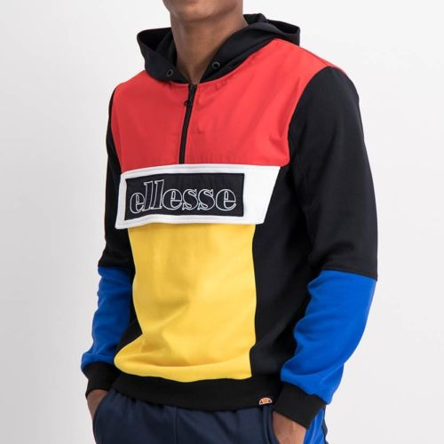 ELL1211B Mixed Fabric Colorblock Hoody Jacket Black Red Yellow Blue ELW21 101A V1