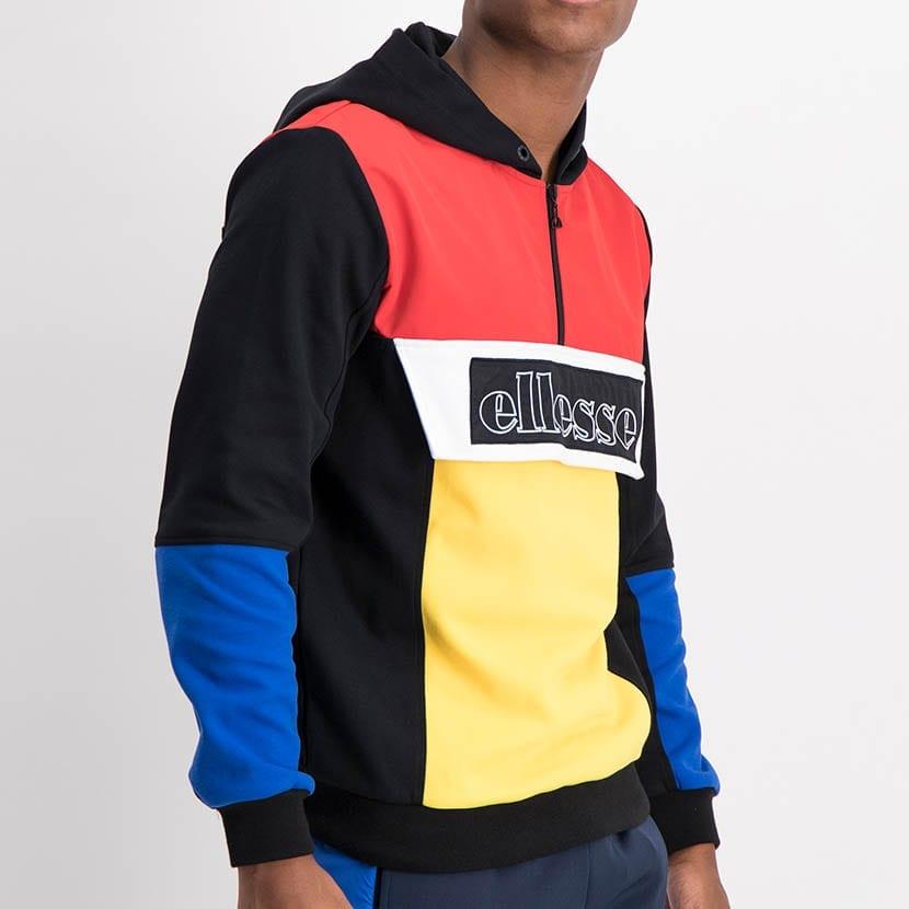 ELL1211B Mixed Fabric Colorblock Hoody Jacket Black Red Yellow Blue ELW21 101A V2