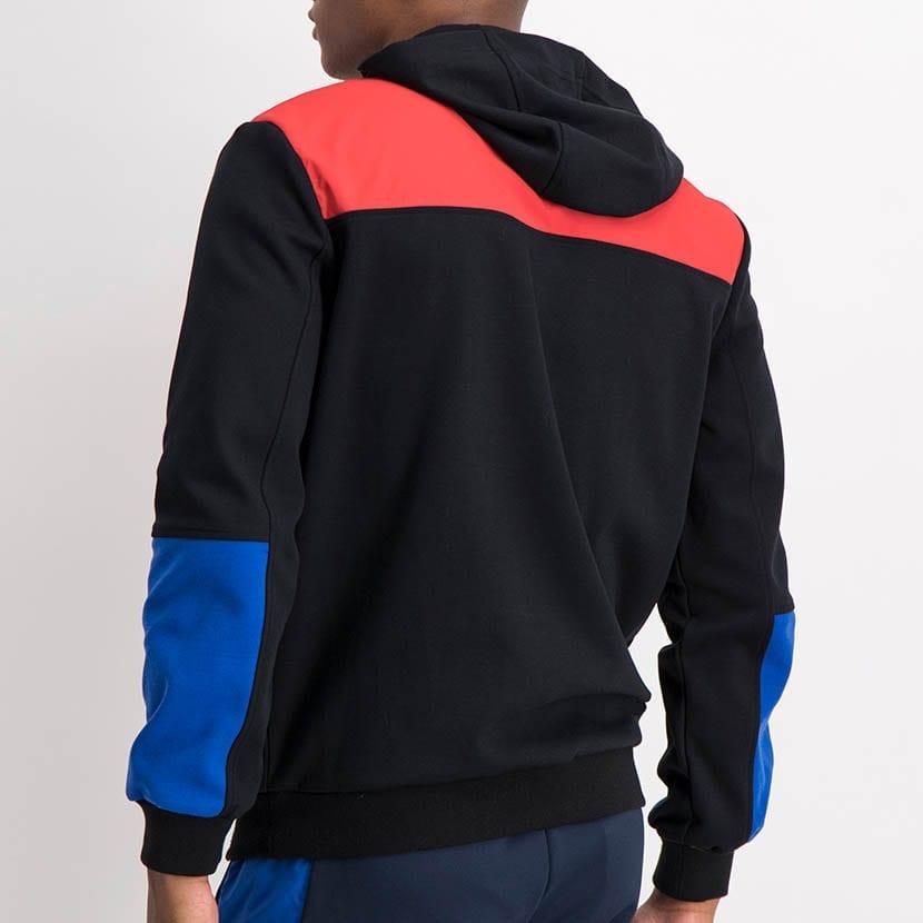 ELL1211B Mixed Fabric Colorblock Hoody Jacket Black Red Yellow Blue ELW21 101A V3