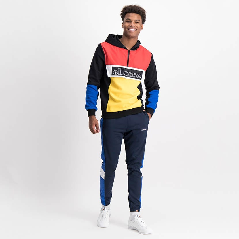 ELL1211B Mixed Fabric Colorblock Hoody Jacket Black Red Yellow Blue ELW21 101A V5