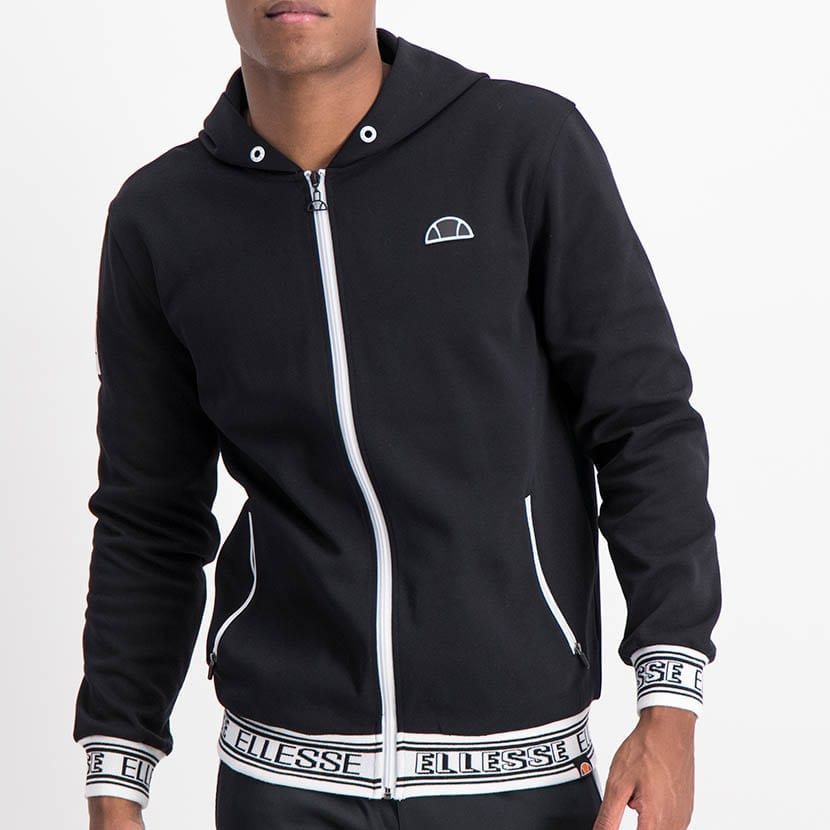ELL1230B Jaquard Detail Hoody Sweat Top Black ELW21 040A V1