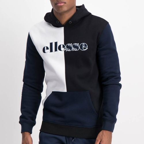 ELL1236B Split Panel Col Hoody Sweat Top Black White Blue ELW21 37A V1