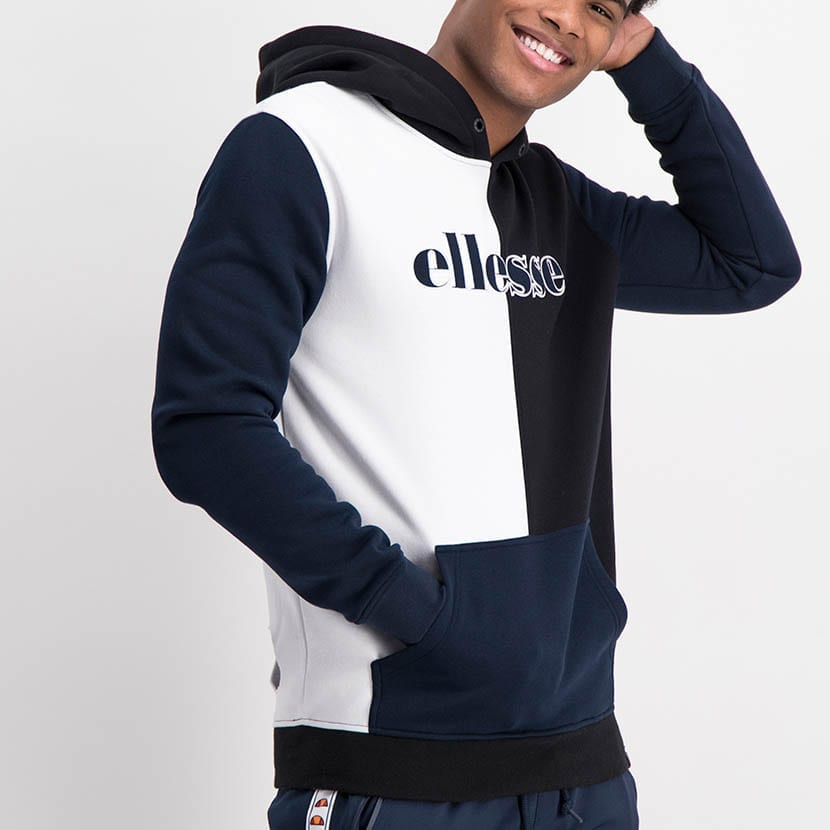 ELL1236B Split Panel Col Hoody Sweat Top Black White Blue ELW21 37A V2