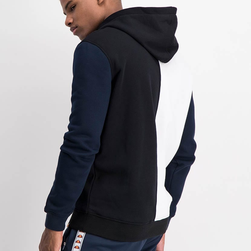 ELL1236B Split Panel Col Hoody Sweat Top Black White Blue ELW21 37A V3