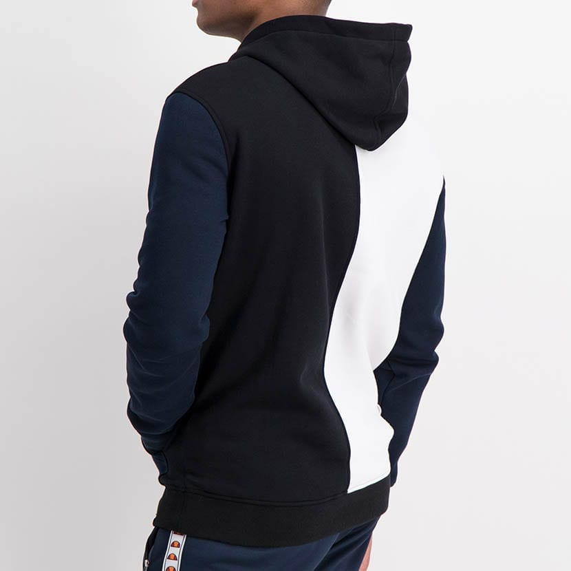 ELL1236B Split Panel Col Hoody Sweat Top Black White Blue ELW21 37A V4