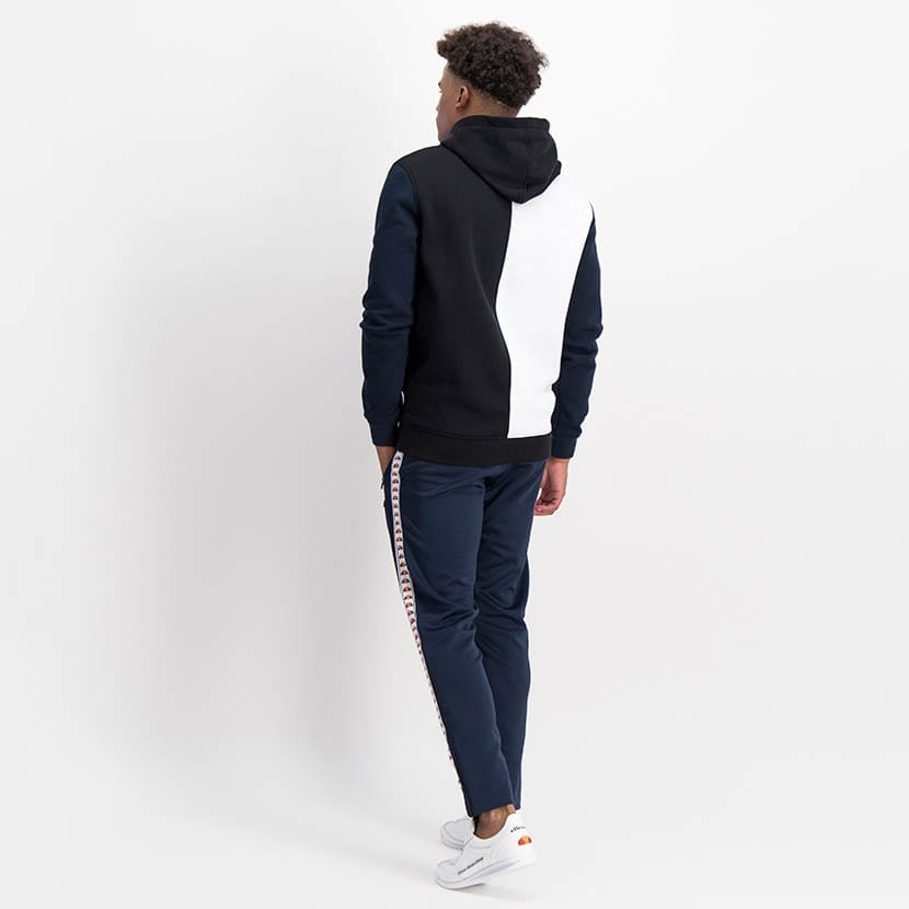ELL1236B Split Panel Col Hoody Sweat Top Black White Blue ELW21 37A V7