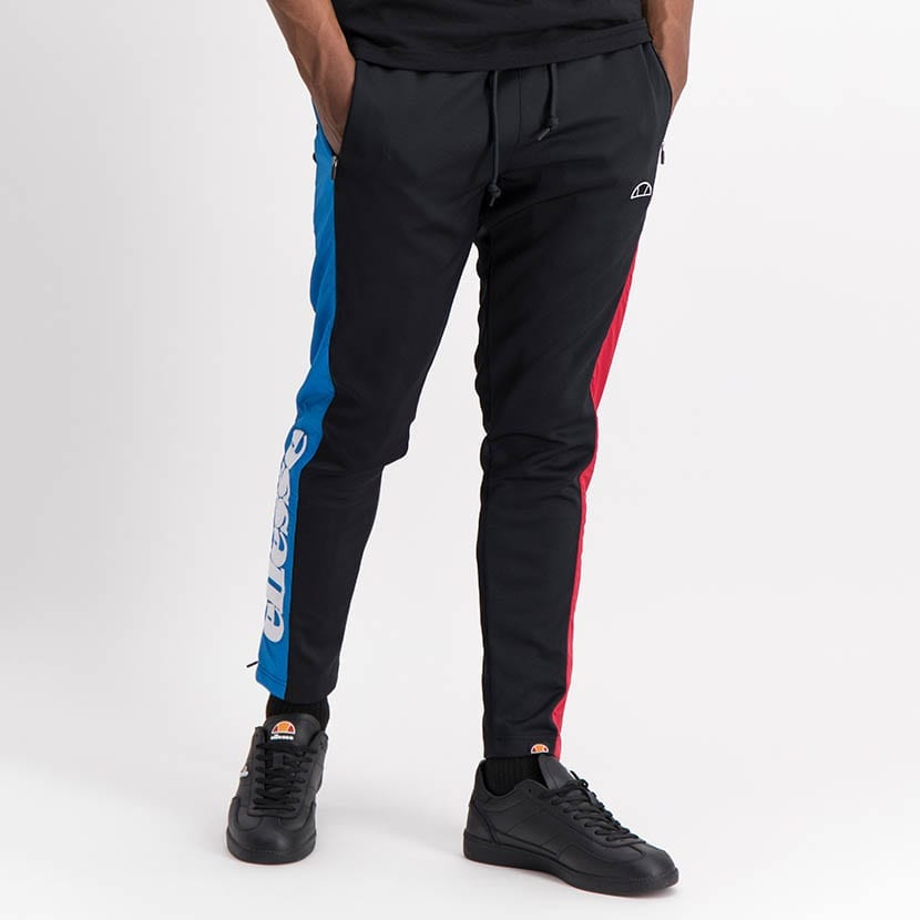 ELL1249B Mixed Fabric Split Panel Track Pants Black Red Blue ELW21 020B V2