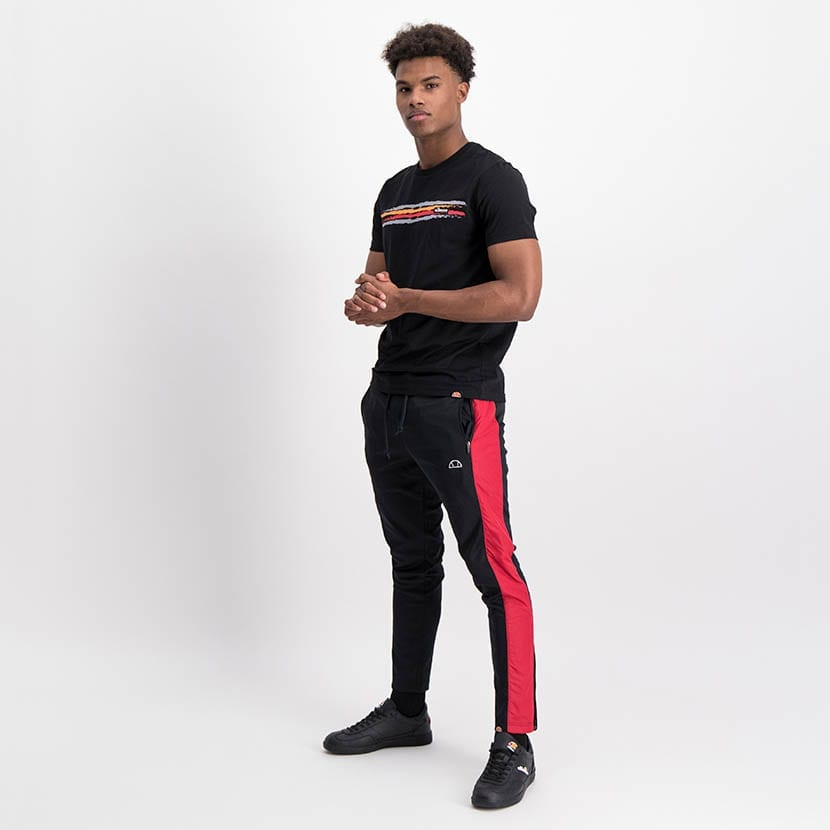 ELL1249B Mixed Fabric Split Panel Track Pants Black Red Blue ELW21 020B V5