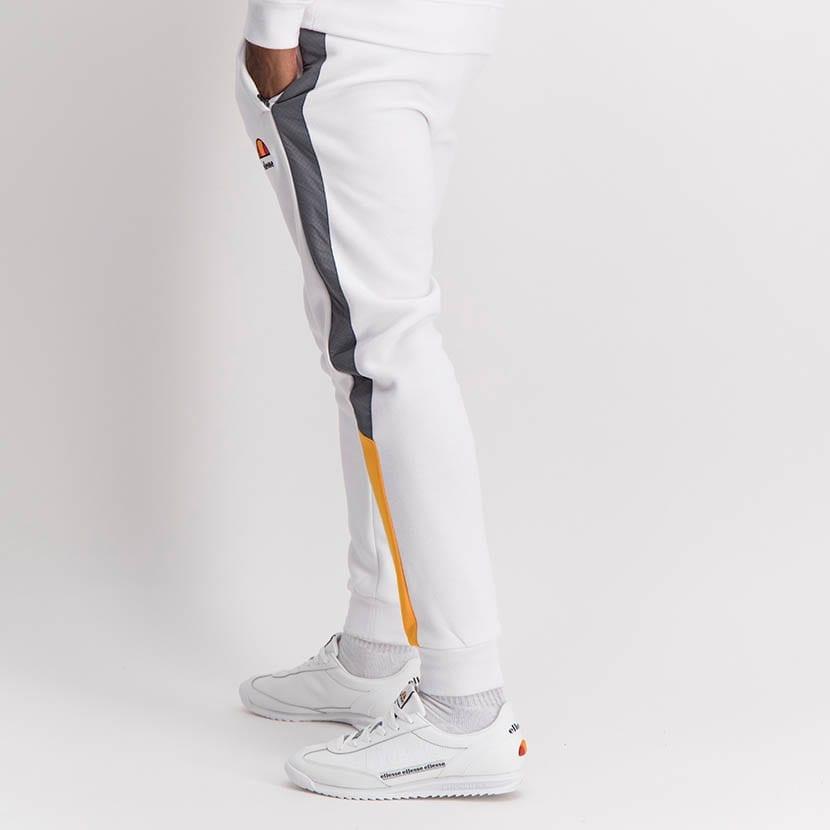 ELL1253W Split Leg Mixed Fabric Sweat Pants White Yellow ELW21 030B V3